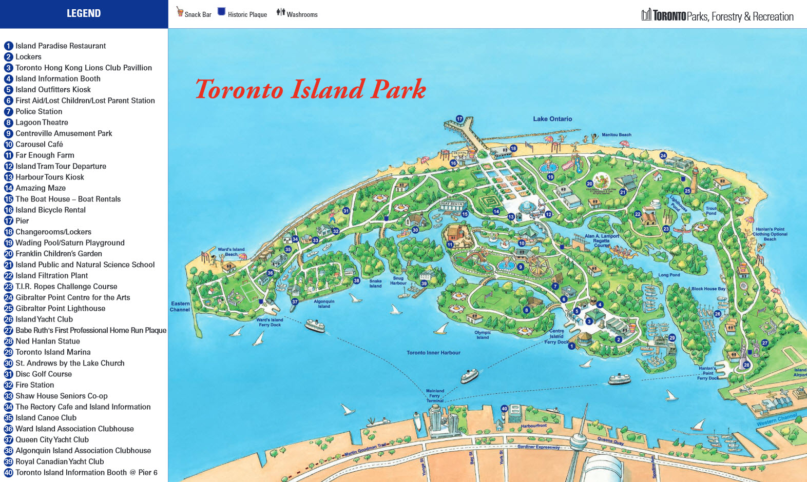 Toronto Island map – Tourist Attractions Map In Toronto